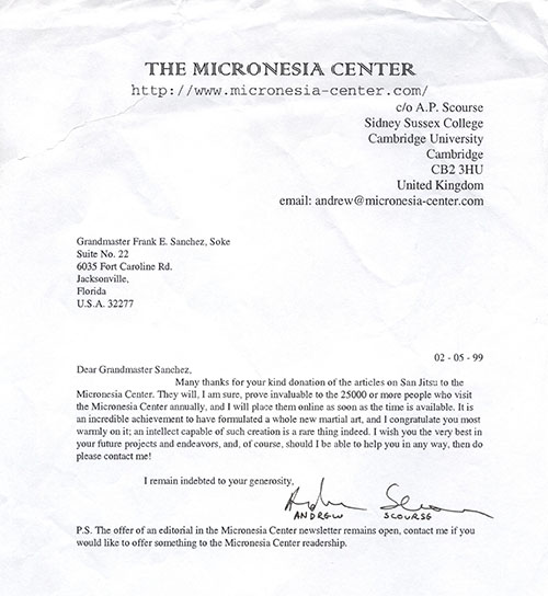 1999 Letter from the Micronesia Center - Cambridge University - England