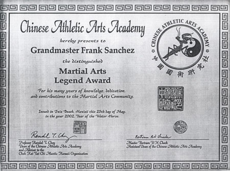 2002 Legend Award from Chinese Athletic Academy - Hawaii