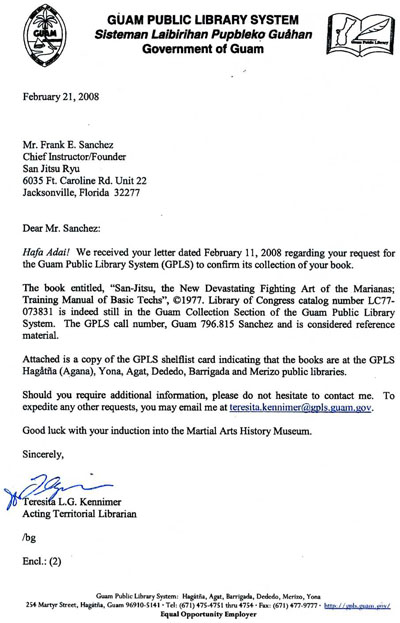 2008 Letter from Guam Public Library System