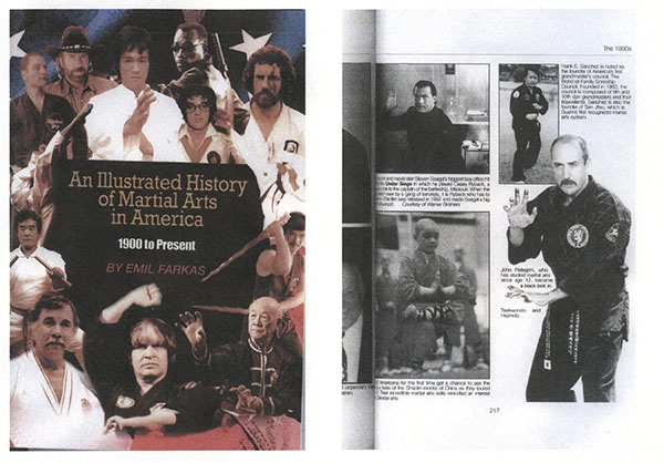 An Illustrated History of Martial Arts in America Book (composite photo of cover & page entry)
