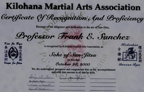 Certificate from Kilohana Association signed by legends of the martial arts