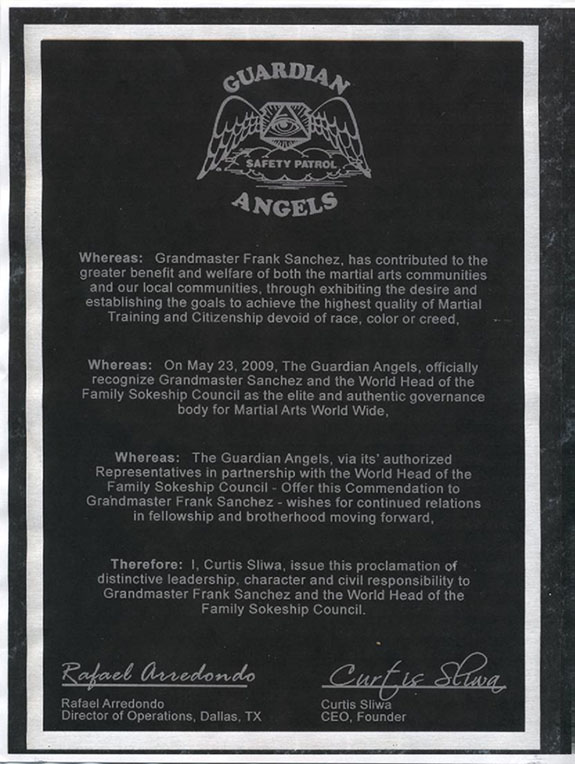 Plaque from Guardian Angels